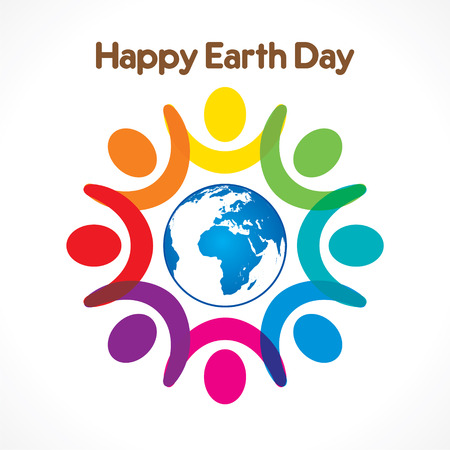 happy people: colorful people celebrate happy earth day  design vector