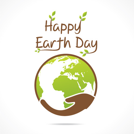 hand globe: happy earth day greeting design vector