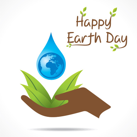 creative happy earth day or save water design vector