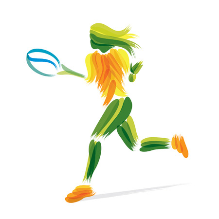 brush stroke: tennis player design by brush stroke vector