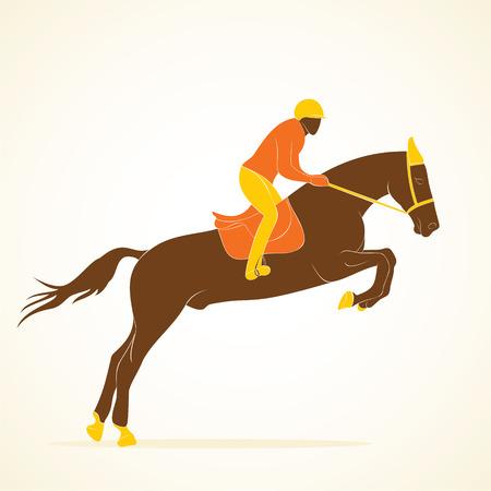 ippica: disegno giocatore equestrian vettore Vettoriali