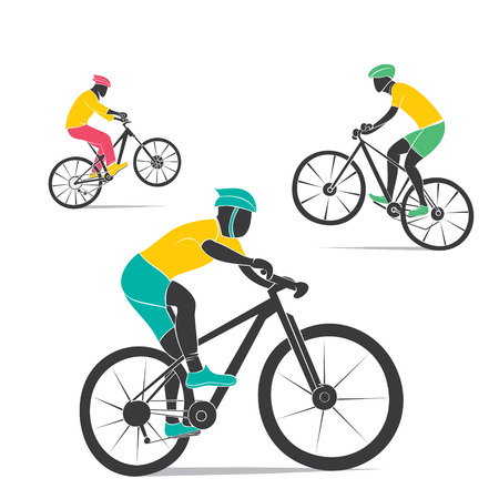 road cycling: mountain cycling design vector