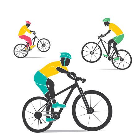 yellow adventure: mountain cycling design vector