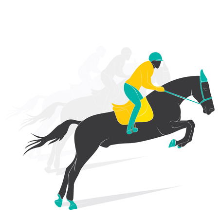 cavallo in corsa: gioco equestre disegno giocatore vettore