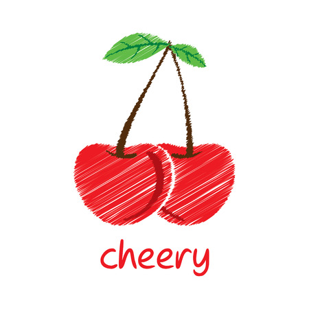 cheery: cheery fruit, sketch design vector