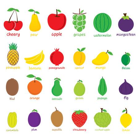 different fruit icon set design