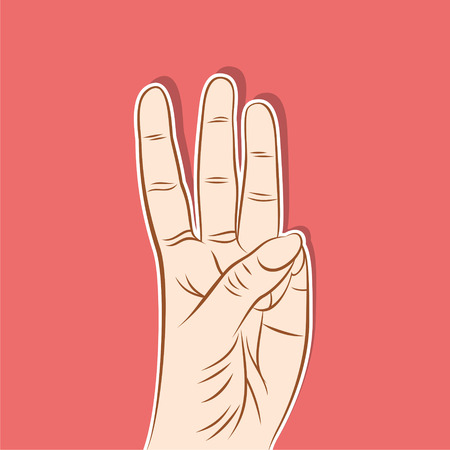 finger pointing up: three finger pointing up or count number three by finger design