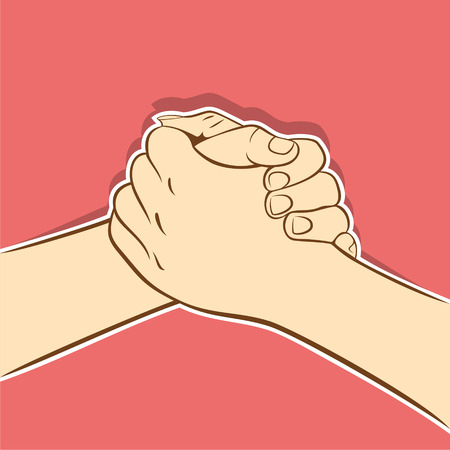 tightly: partnership, tightly join hand or support each other concept design