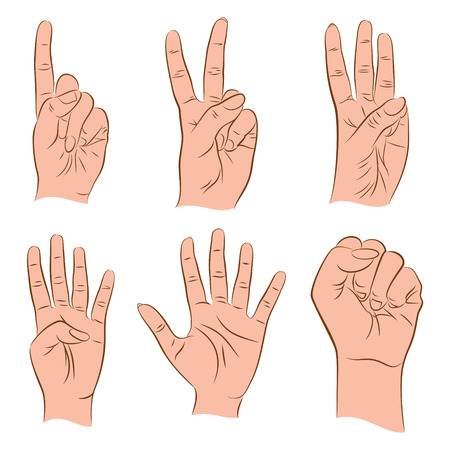 5 0: counting number 1,2,3,4,5,0 by using finger design concept vector