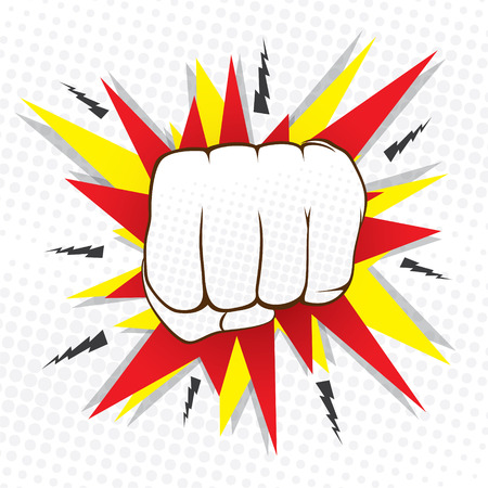 hit: abstract hit hand punch design  vector