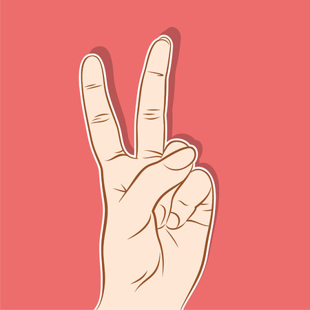 two finger: victory symbol, count two and many means for two finger gesture design