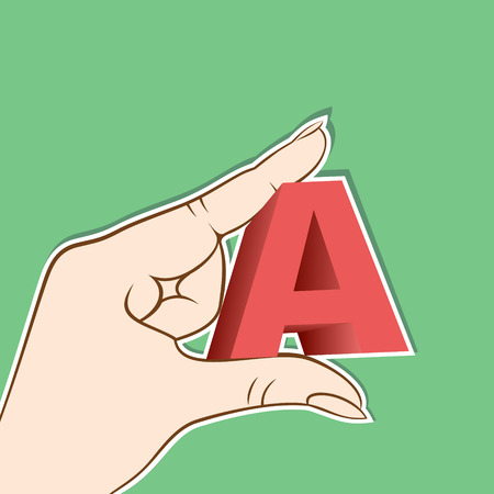 proficiency: alphabet A hold in hand design