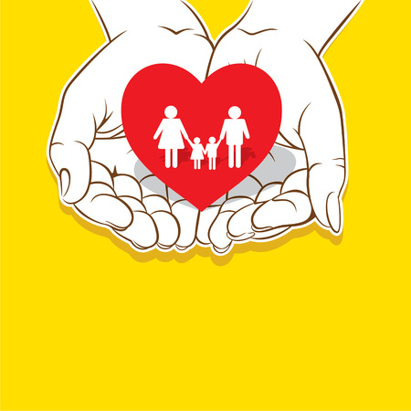 asian children: loving family , safe or secure family concept design Illustration
