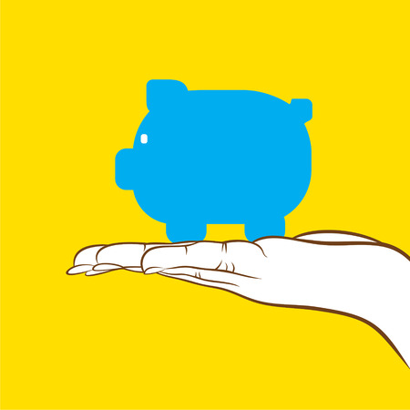 save money: piggy bank hold in for save money concept design