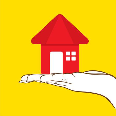 sweet home: dulce icono de inicio asimiento en el dise�o de la mano Vectores