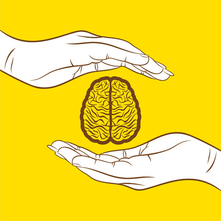 health and wellness: secure your knowledge ,brain under hand  design