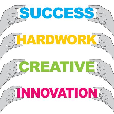 hardwork: hand hold different words like success, hard work, creative, innovation design Illustration