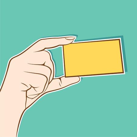 hold: hand hold blank card for information design Illustration