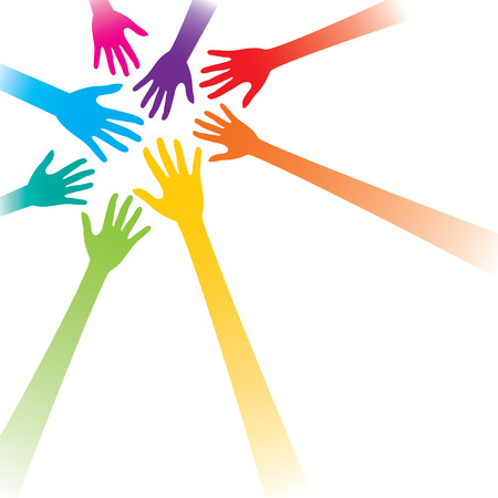hands up: colorful hand or teamwork concept background vector