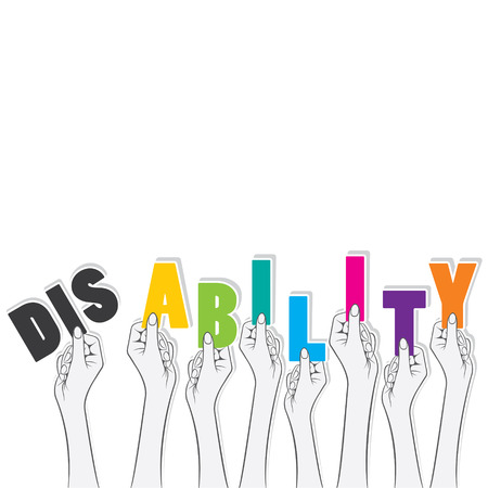 disability word hold in hand, transform in ability concept design vector
