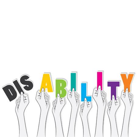 discapacidad: palabra discapacidad sostener en la mano, a transformar en la capacidad concepto de dise�o vectorial Vectores