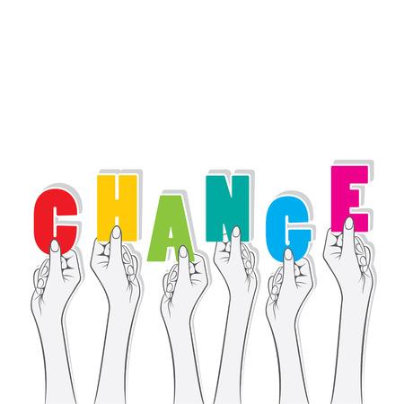el mundo en tus manos: palabra cambio sostenga en la mano concepto de diseño vectorial Vectores