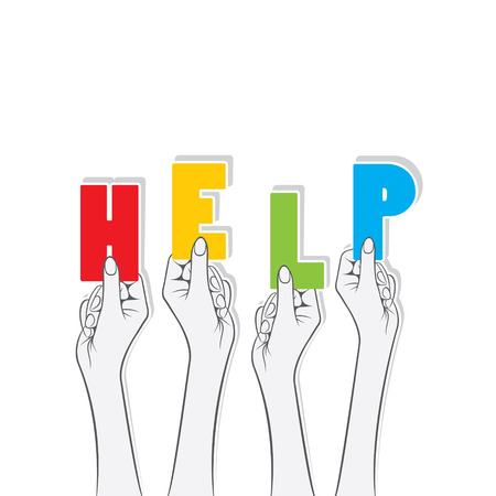 charity work: help word hold in hand concept design vector