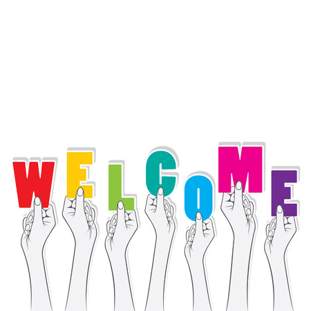 hold: welcome word hold in hand concept design vector Illustration