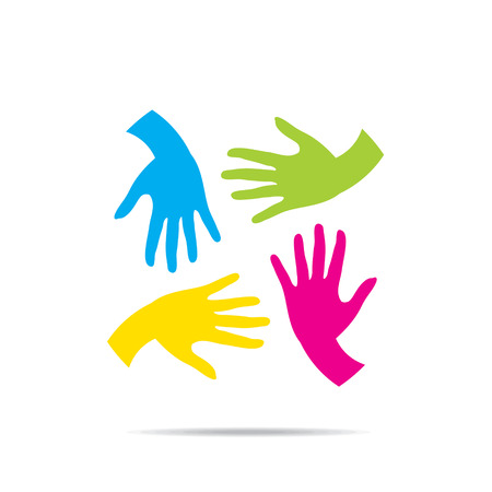 helping: teamwork or helping hand design vector Illustration