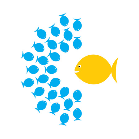 big fish: creative leadership, or group discussion concept, big fish discuss with group of fish vector