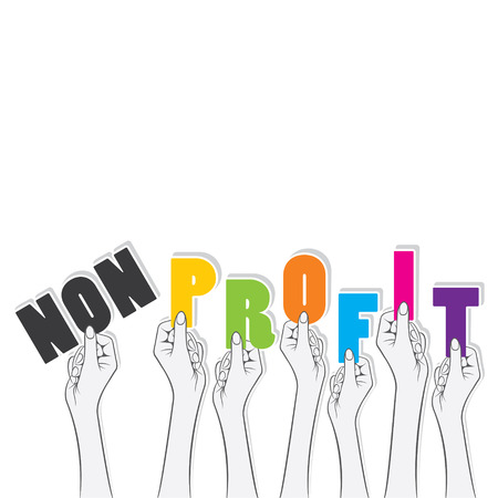 non-profit word hold in hand , word transform in to profit concept design vector