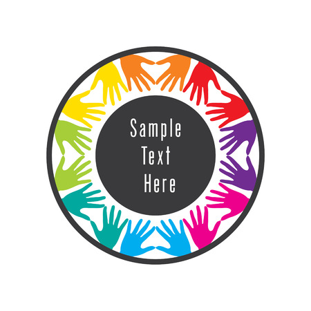 colorful helping hand or teamwork concept design vector