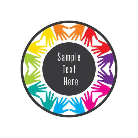 mundo manos: colorido mano amiga o concepto de trabajo en equipo de diseño vectorial Vectores