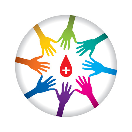 gönüllü: people helping or support donate blood concept design vector