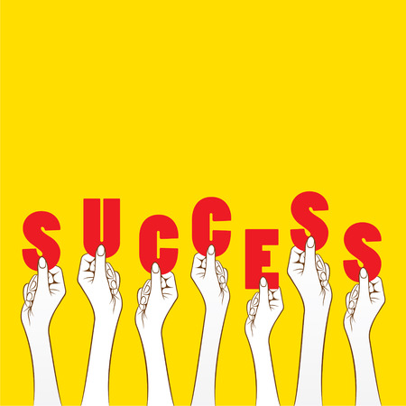 success concept: success word hold in hand concept design vector