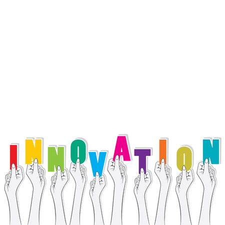 innovation word: creative innovation word hold in hand concept design