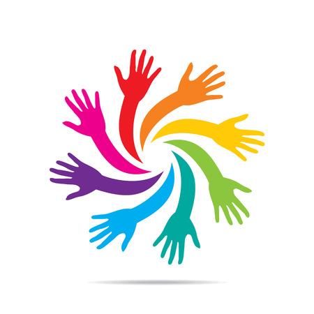 teamwork together: teamwork concept, helping hands, or work for cause concept design vector