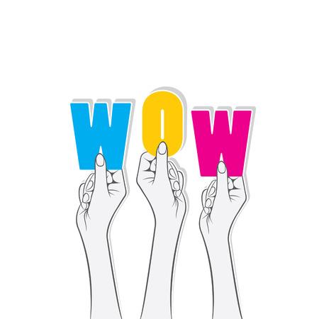 wow: colorido explotación de la mano wow concepto de texto de diseño vectorial Vectores