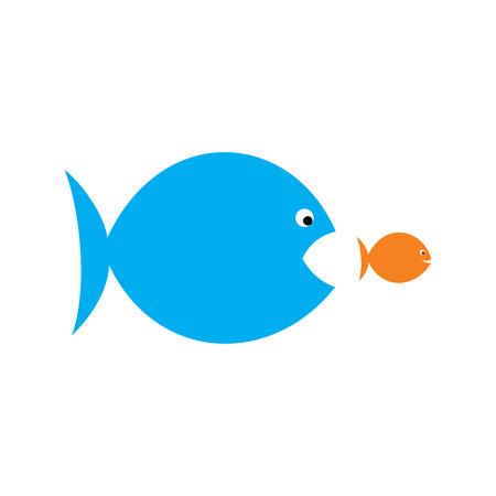 the big: peces grandes comer peces pequeños, la presión sobre el jefe del empleado concepto de diseño vectorial Vectores