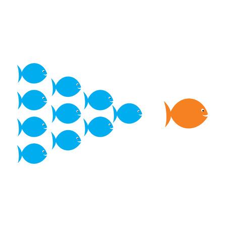 follow the leader: leadership concept , fish team follow the big fish concept design vector