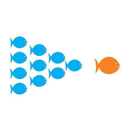 leadership concept , fish team follow the big fish concept design vector