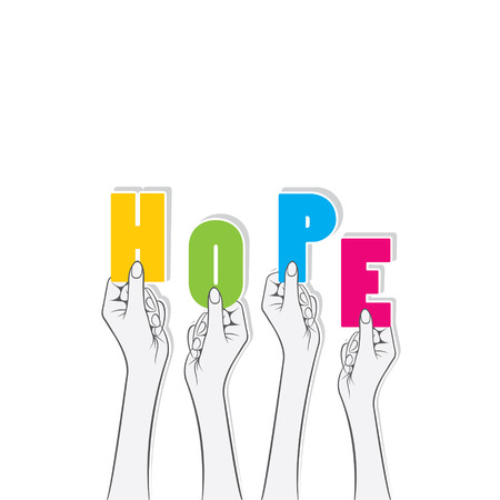 hope: hope word hold in hand concept design vector