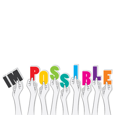 possible: impossible word hold in hand transform in to possible design concept vector Illustration