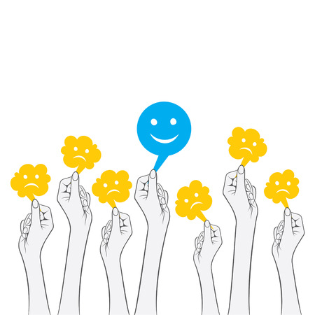 non verbal: only one happy other is sad concept design vector
