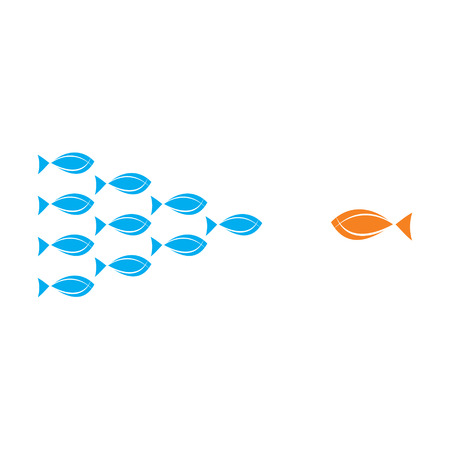 individual color: teamwork concept, group of fish fight with single big fish concept vector