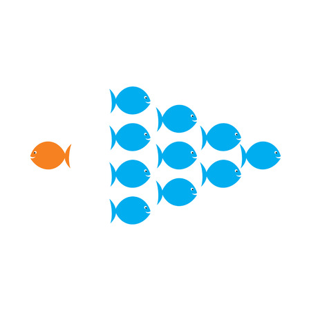 oppose: one fish choose different or opposite path for success in life concept vector Illustration