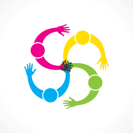 join hand: teamwork or every people join hand for help concept design vector Illustration