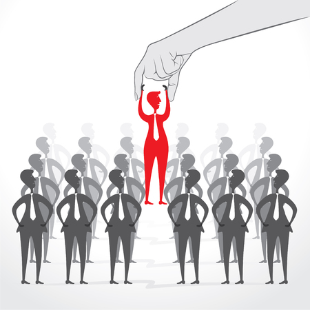 hired: men hired for job concept design vector
