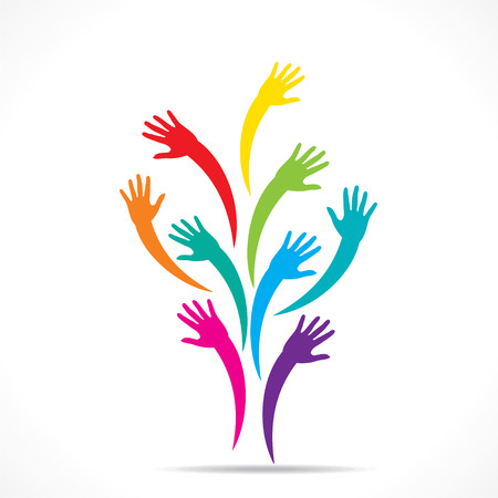 hand colored: colorful up hand design concept vector
