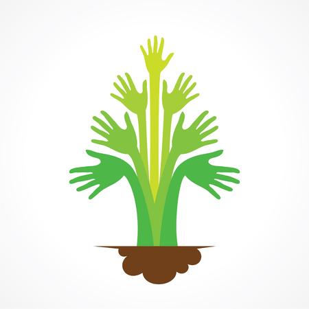 green hand: creative green hand tree design concept vector
